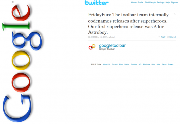 Google Toolbar is Twitter dangermouse